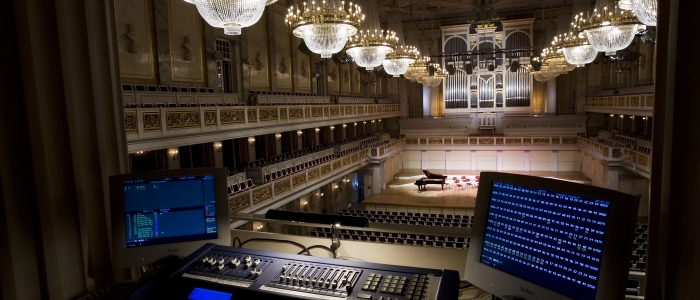 Light control room at the main hall in the Konzerthaus Berlin, Germany